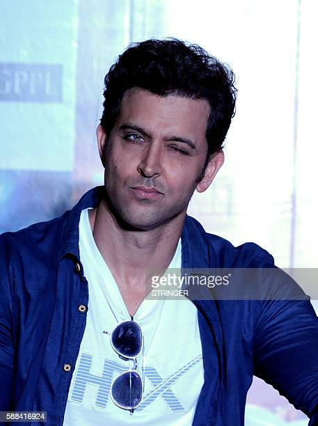Indian Bollywood actor Hrithik Roshan poses during the promotion of their Hindi film Mohenjo Daro directed by Ashutosh Gowariker in Mumbai on August...