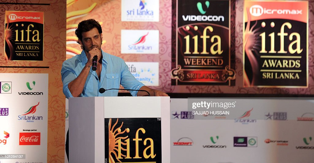 Indian Bollywood actor Hrithik Roshan speaks at a news conference in Mumbai on May 29, 2010 to promote The International Indian Film Academy (IIFA) awards. Sri Lanka will host top Indian movie stars for the annual 'Bollywood Oscars' weekend that showcases one of the world's most ambitious and prolific film industries. The June 3-5 event will feature performances, premieres, celebrity parties, workshops, business forums, fashion shows and a Twenty20 cricket match. AFP PHOTO Sajjad HUSSAIN