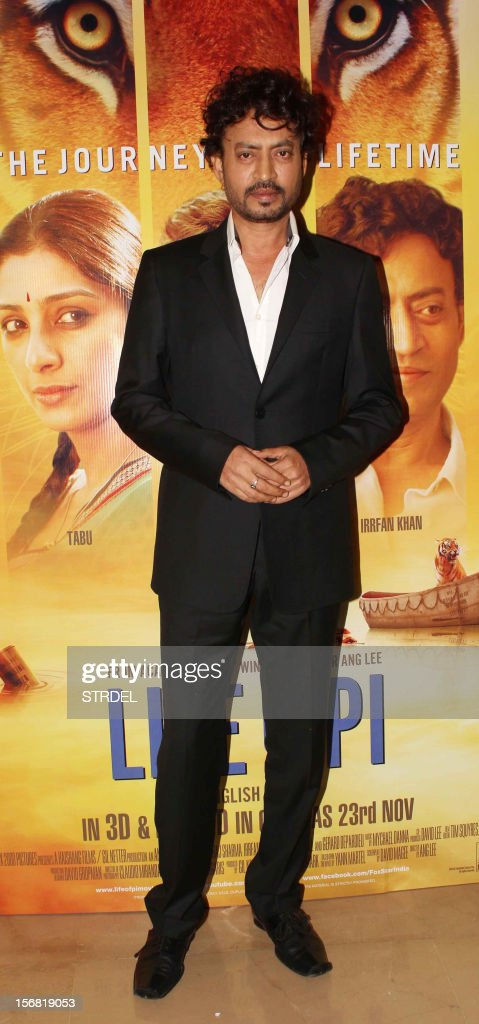 Indian Bollywood actor Irfan Khan poses as he attends a special screening of the film 'Life of Pi' in Mumbai late November 21, 2012.