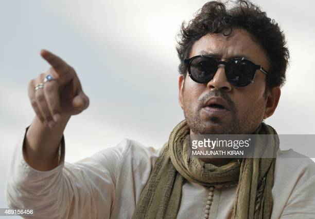 Indian Bollywood actor Irfan Khan speaks during a promotional event for a sustainable living project in Bangalore on April 10 2015 AFP PHOTO /...