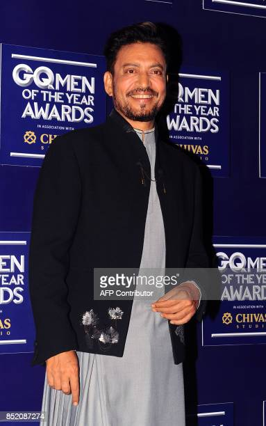 Indian Bollywood actor Irrfan Khan attends GQ India's ninth anniversary with the annual Men of the Year Awards 2017 in Mumbai on September 22 2017 /...