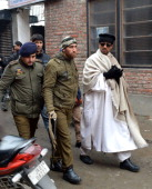 Indian Bollywood actor Irrfan Khan during a film shooting of upcoming film 'Haider' on January 27 2014 in SrinagarIndia Haider is an upcoming...