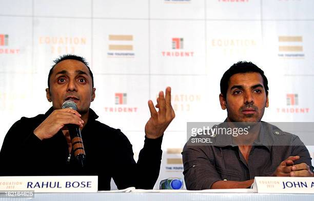 Indian bollywood actor John Abraham look on during a press conference for NGO fundraiser Equation 2013 founded by bollywood actor Rahul Bose in...