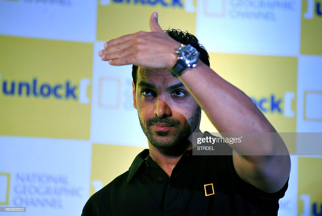 Indian Bollywood actor John Abraham takes part in a promotional event for National Geographic Channel in Mumbai on September 27, 2013.