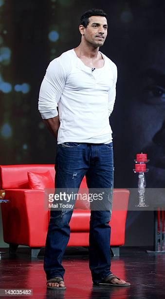 Indian Bollywood actor John Abraham with on the set of NDTV television show Issi Ka Naam Zindagi in Mumbai