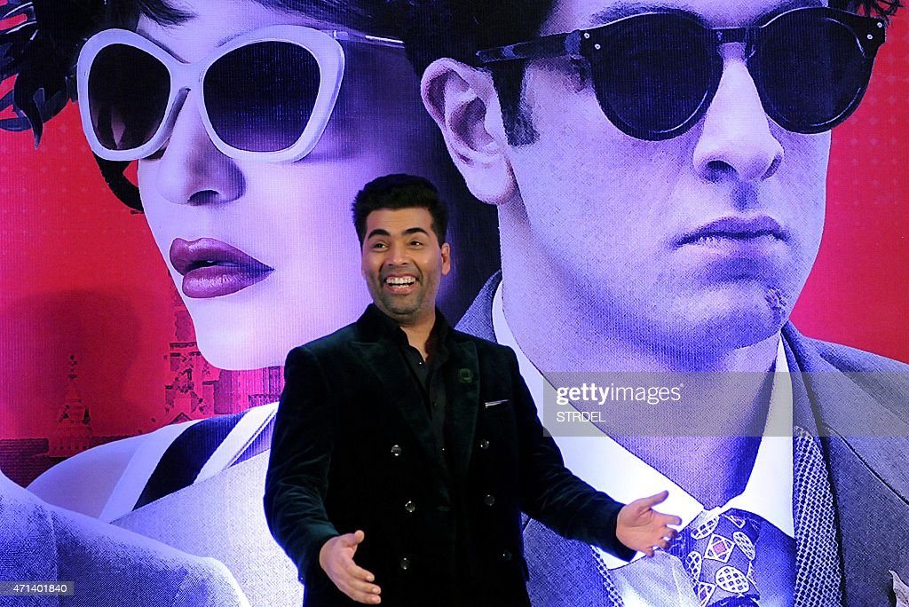 Indian Bollywood actor Karan Johar speaks during a promotional event for the forthcoming Hindi film 'Bombay Velvet' directed and co-produced by Anurag Kashyap in Mumbai on late April 27, 2015.
