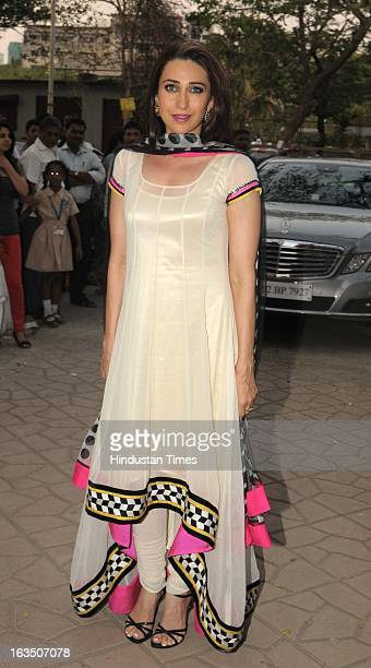 Indian bollywood actor Karisma Kapoor at fashion designer Archana Kochhar's store in Juhu on March 8 2013 in Mumbai India