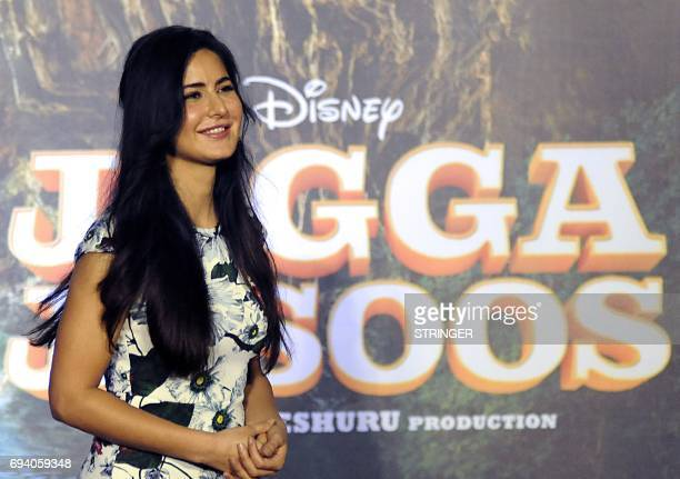 Indian Bollywood actor Katrina Kaif attends the song launch event for their upcoming romantic comedy Hindi film 'Jagga Jasoos written and directed by...