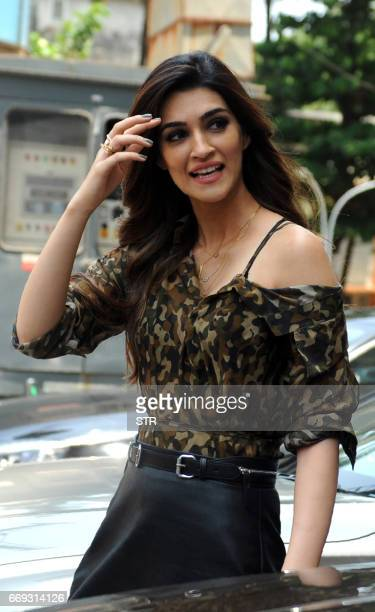 Indian Bollywood actor Kriti Sanon arrives for a promotional event for the forthcoming Hindi film 'Raabta' directed by Dinesh Vijan in Mumbai on...