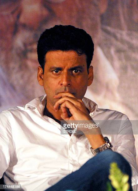 Indian Bollywood actor Manoj Bajpai attends a promotional event for the updated 'Raghupati Raghava Raja Ram' and the upcoming political thriller...