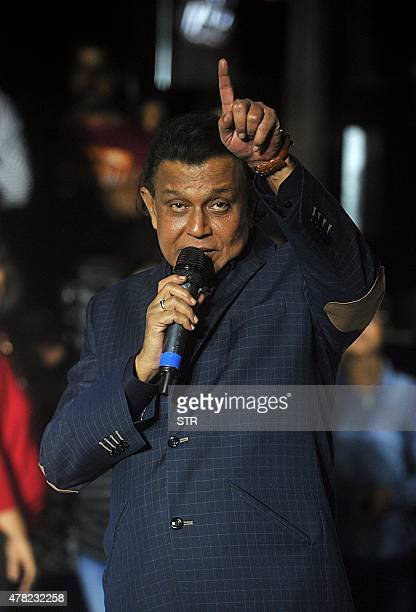Indian Bollywood actor Mithun Chakraborty attends a press conference for season 5 of reality television show 'Dance India Dance' in Mumbai late on...