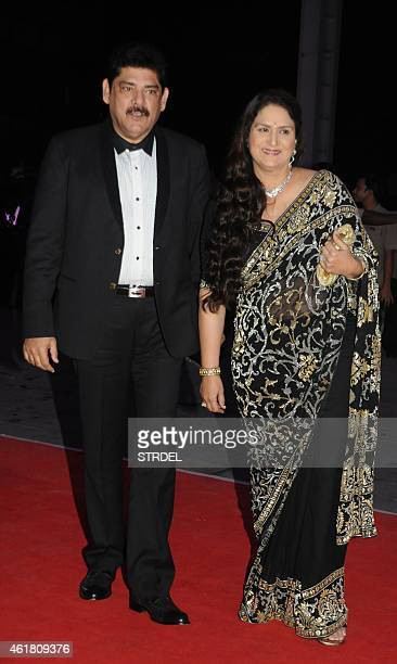 Indian Bollywood actor Pankaj Dhir with his wife attend the wedding reception of Kussh Sinha son of Bollywood veteran actor Shatrughan Sinha and...