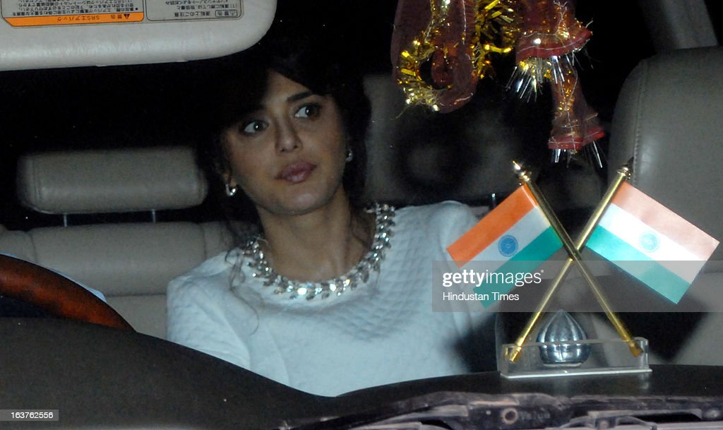 Indian Bollywood actor Preity Zinta arriving for the Steven Spielberg's party which is organised by Anil Ambani, chairman of Anil Dhirubhai Ambani Group at Taj President, Cuffe Parade on March 12, 2013 in Mumbai, India. Spielberg is in India to celebrate the success of his film Lincoln, a co-production between his banner DreamWorks and Anil Ambani's Reliance Entertainment.