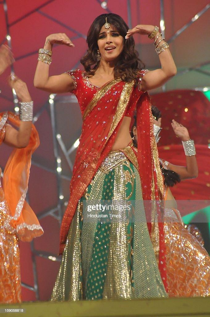 Indian bollywood actor Priyanka Chopra performing during the Umang Mumbai Police Annual Show 2013 at Andheri Sports Complex on January 5, 2013 in Mumbai, India.