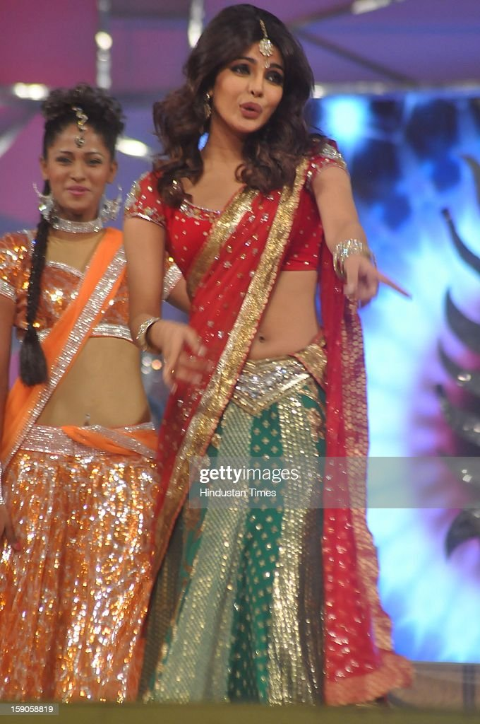 Indian bollywood actor Priyanka Chopra performing during the Umang Mumbai Police Annual Show 2013 at Andheri Sports Complex on January 5, 2013 in Mumbai, India.