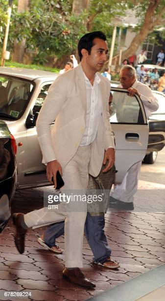 Indian Bollywood actor Rahul Khanna arrives to attend a prayer meeting for his late father actor and politician Vinod Khanna in Mumbai on May 3 2017...