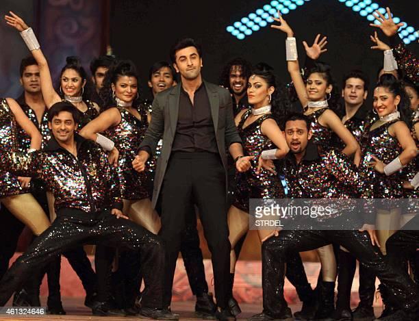Indian Bollywood actor Ranbir Kapoor dances during the annual 'Umang 2015 Mumbai Police Show' in Mumbai on late January 10 2015 AFP PHOTO / STR