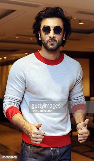 Indian Bollywood actor Ranbir Kapoor poses for a photograph during a promotional event for the forthcoming Hindi film 'Jagga Jasoos' in Mumbai on...