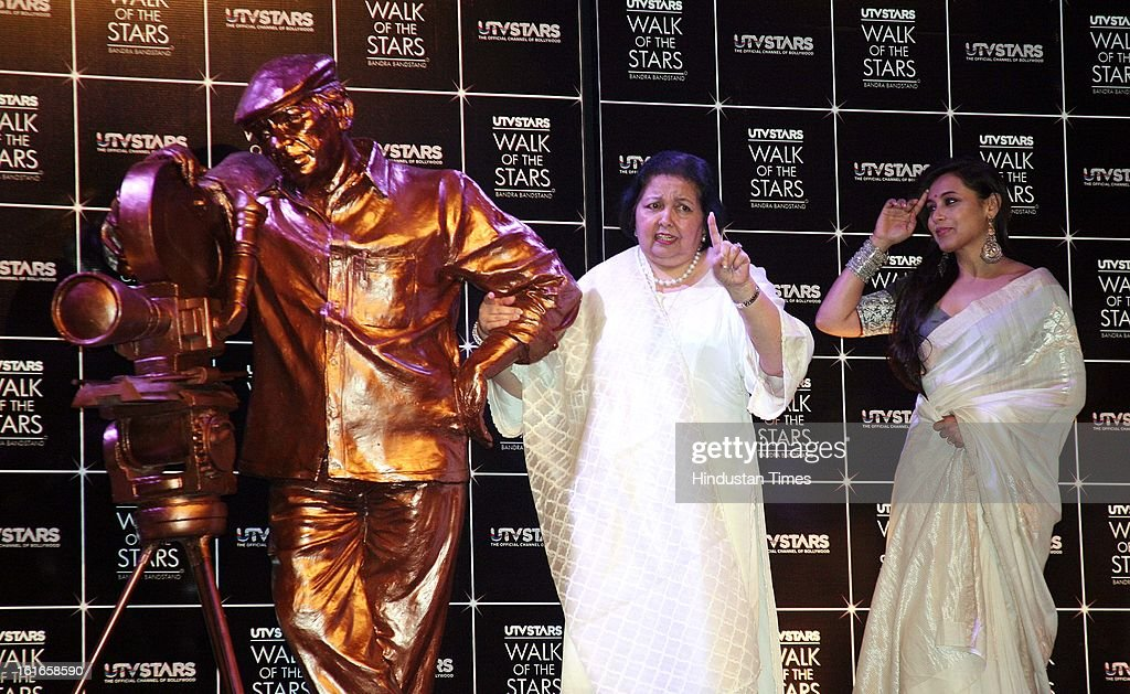 Indian bollywood actor Rani Mukherjee and Pamela Chopra Wife of late Yash Chopra unveiling of Yash Chopra's statue at Yash Raj Studio on February 11, 2013 in Mumbai, India.