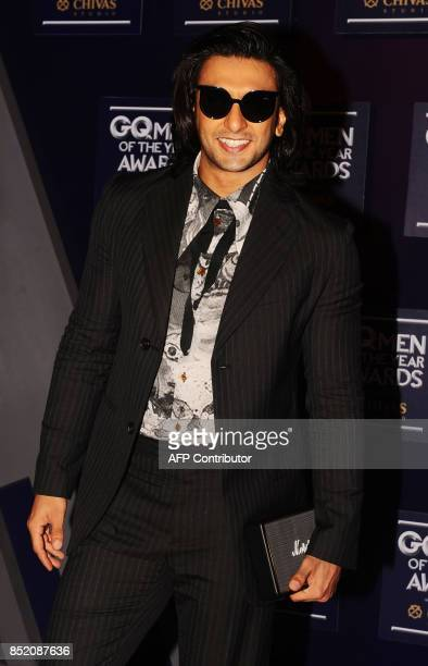 Indian Bollywood actor Ranveer Singh attends GQ India's ninth anniversary with the annual Men of the Year Awards 2017 in Mumbai on September 22 2017...