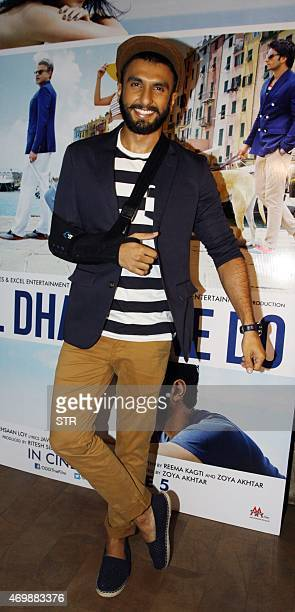 Indian Bollywood actor Ranveer Singh attends the trailer showing of upcoming Hindi comedydrama film 'Dil Dhadakne Do' directed by Zoya Akhtar and...