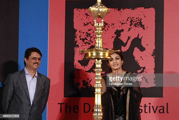 Indian Bollywood actor Raveena Tandon during the opening ceremony of Kala Ghoda Arts Festival at Cross Maidan on Febuary 1 2013 in Mumbai India The...