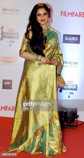 Indian Bollywood actor Rekha attends the '61st Filmfare Awards 2016' ceremony in Mumbai on January 15 2016 AFP PHOTO / AFP / STR