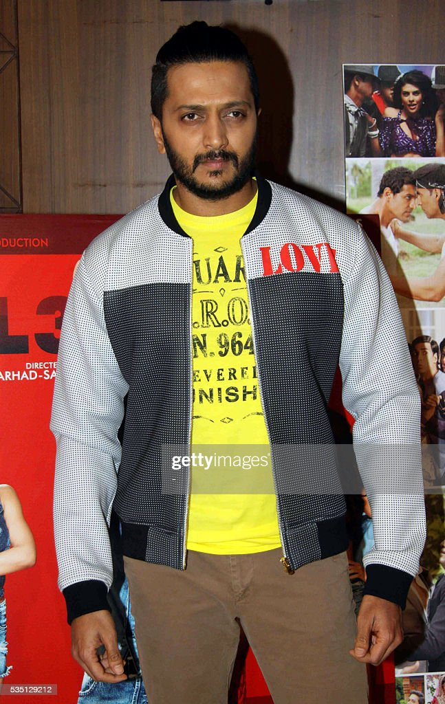 Indian Bollywood actor Riteish Deshmukh poses during a promotion event for the upcoming Hindi film Housefull 3 in Mumbai on May 28, 2016. / AFP / -