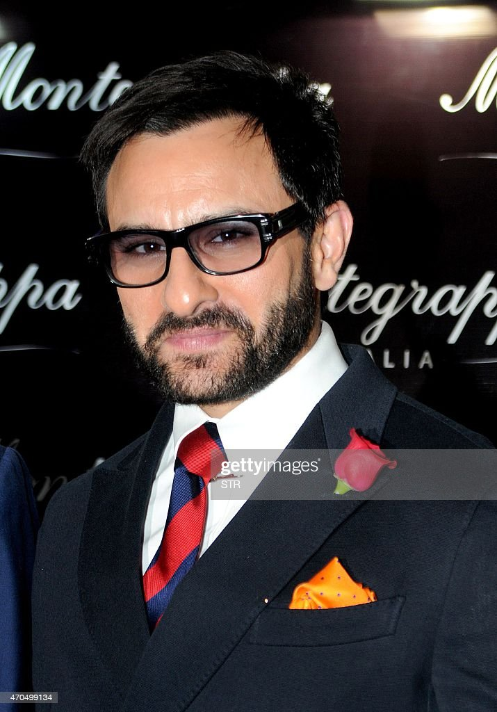 Indian Bollywood actor <a gi-track='captionPersonalityLinkClicked' href=/galleries/search?phrase=Saif+Ali+Khan&family=editorial&specificpeople=3117032 ng-click='$event.stopPropagation()'>Saif Ali Khan</a> attends a promotional event in Mumbai on April 20, 2015.