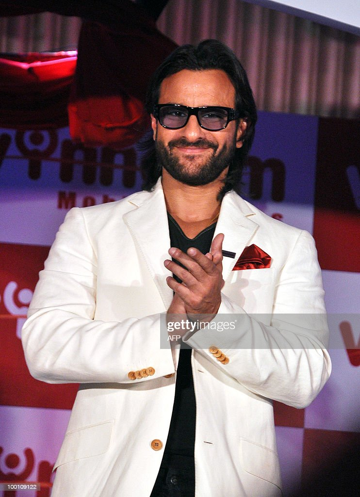 Indian bollywood actor Saif Ali Khan attends a Wynncom Mobile Phones event in Mumbai on May 21, 2010.