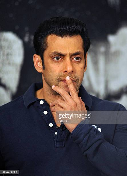 Indian Bollywood actor Salman Khan attends a promotional event for the Hindi film 'Jai Ho' in Mumbai on January 23 2014 AFP PHOTO/STR
