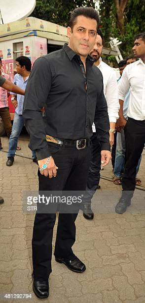 Indian Bollywood actor Salman Khan celebrates and wishes his fans Ramzan Eid Mubarak at his residence in Mumbai on July 18 2015 AFP PHOTO
