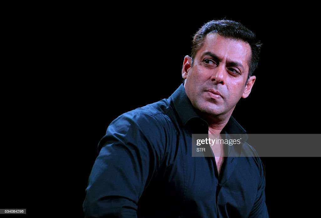 Indian Bollywood actor Salman Khan looks on during a promotional event for the forthcoming Hindi film 'Sultan' directed by Ali Abbas Zafar in Mumbai on late May 24, 2016. / AFP / STR