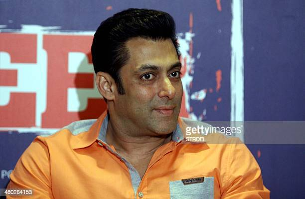 Indian Bollywood actor Salman Khan looks on during the launch of a television event in Mumbai on late March 23 2014 AFP PHOTO / STR