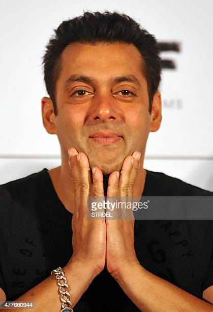 Indian Bollywood actor Salman Khan looks on during the trailer launch of the forthcoming Hindi film Bajrangi Bhaijaan directed by Kabir Khan produced...