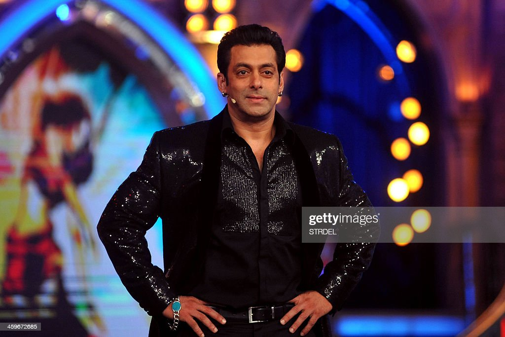 Indian Bollywood actor <a gi-track='captionPersonalityLinkClicked' href=/galleries/search?phrase=Salman+Khan+-+Actor&family=editorial&specificpeople=558807 ng-click='$event.stopPropagation()'>Salman Khan</a> looks on while hosting the final of the reality show 'Bigg Boss 7 in Mumbai on late December 28, 2013.