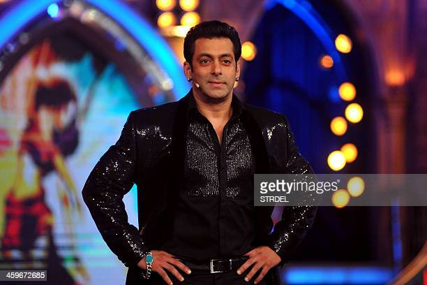 Indian Bollywood actor Salman Khan looks on while hosting the final of the reality show 'Bigg Boss 7 in Mumbai on late December 28 2013 AFP PHOTO/STR