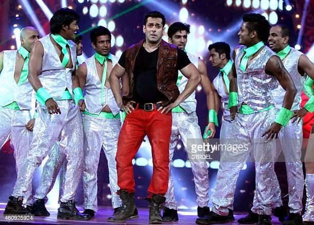 Indian Bollywood actor Salman Khan performs during the BIG STAR Entertainment Awards 2014 in Mumbai on December 18 2014 AFP PHOTO/STR