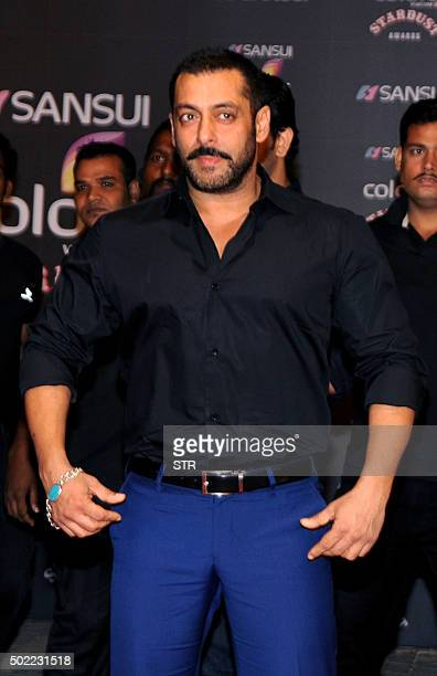Indian Bollywood actor Salman Khan poses during the Stardust Awards 2015 ceremony in Mumbai on December 21 2015 AFP PHOTO / AFP / STR