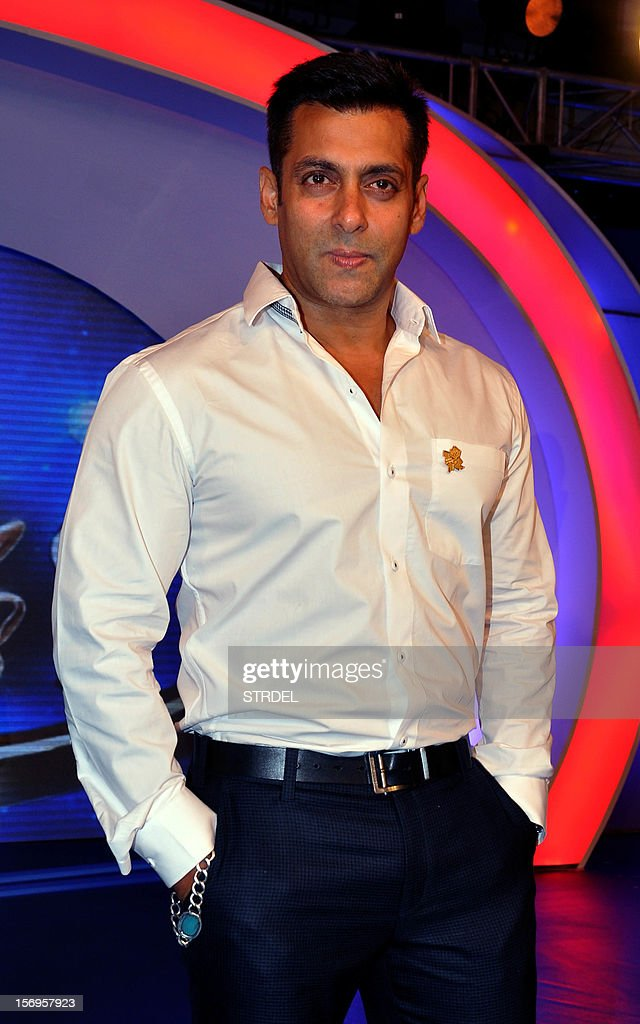 Indian Bollywood Actor Salman Khan poses for a photo during a promotional ceremony for ten disabled athletes in Mumbai on November 25, 2012.