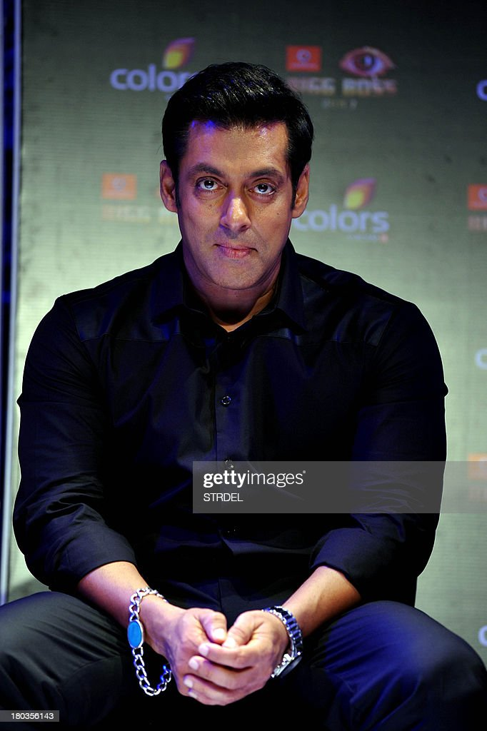 Indian Bollywood actor <a gi-track='captionPersonalityLinkClicked' href=/galleries/search?phrase=Salman+Khan+-+Actor&family=editorial&specificpeople=558807 ng-click='$event.stopPropagation()'>Salman Khan</a> poses for a photo during a press conference for the reality game show BIGG BOSS Season 7 in Mumbai on September 11, 2013. AFP PHOTO/ STR