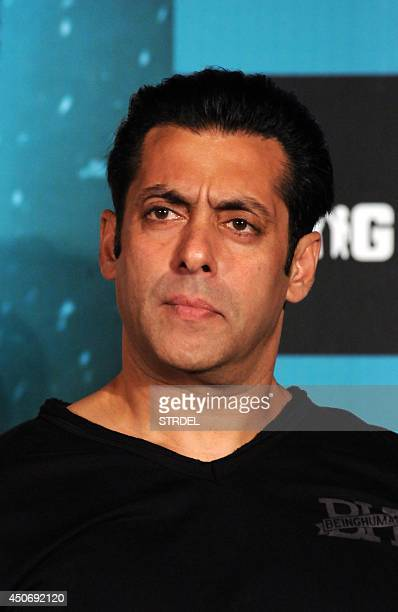 Indian Bollywood actor Salman Khan poses for a photograph during a promotional event for the forthcoming Hindi film Kick produced and directed by...