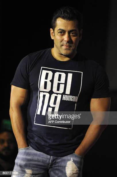 Indian Bollywood actor Salman Khan poses for a picture during the announcement of his association with PVR Cinema and Being Human Foundation to...