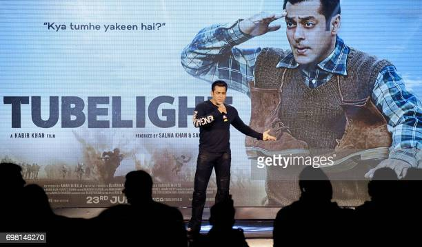 Indian Bollywood actor Salman Khan speaks during the promotion of his upcoming Hindi film Tubelight in Mumbai on June 19 2017 / AFP PHOTO /