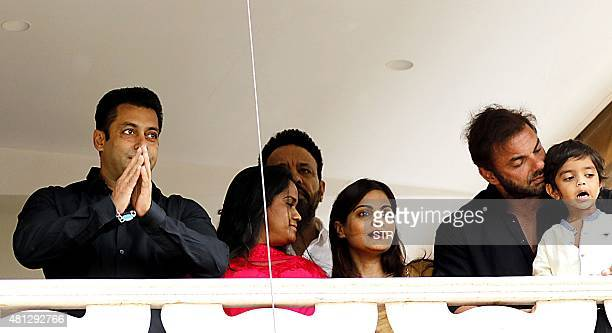 Indian Bollywood actor Salman Khan with sister and brother Soheil Khan celebrates and wishes his fans Ramzan Eid Mubarak at his residence in Mumbai...