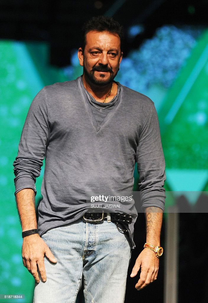 Indian Bollywood actor Sanjay Dutt poses as he attends the fourth day of the Lakme Fashion Week (LFW) summer/resort 2016 in Mumbai on April 2, 2016. / AFP / SUJIT