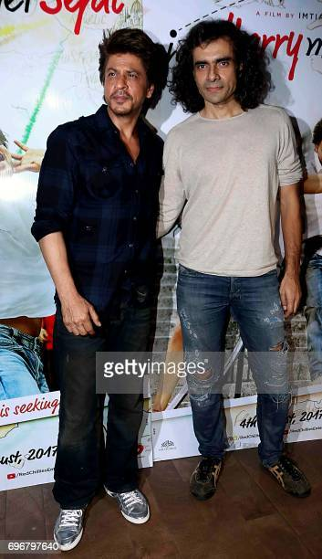 Indian Bollywood actor Shah Rukh Khan and director Imtiaz Ali attend the trailer launch of upcoming Hindi film 'Jab Harry Met Sejal' in Mumbai on...