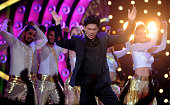 Indian Bollywood actor Shah Rukh Khan promotes his Hindi film 'Dilwale' on the set of the reality show 'Bigg Boss Na' in Lonavala on December 19 2015...