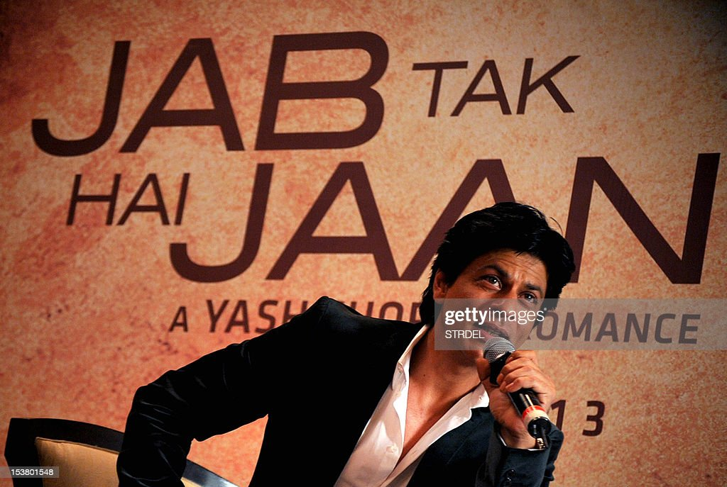 "Indian Bollywood actor Shah Rukh Khan speaks to the press, during a promotion of the upcoming Hindi film 'Jab Tak Hai Jaan"" in Mumbai on October 9, 2012. AFP PHOTO/ STR"