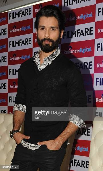Indian Bollywood actor Shahid Kapoor poses during the launch of the 'FilmFare' magazine cover promoting Hindi film 'Shaandar' directed by Vikas Bahl...